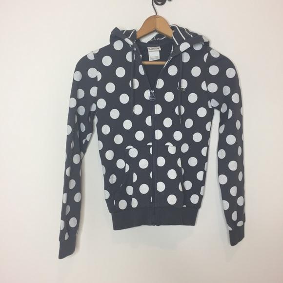 Lacoste Tops - Lacoste polka dot hoodie sweatshirt gray white 2 0